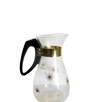 Vintage Pyrex Carafe Atomic Mid Century Design Glass Coffee Pot - Starburst Gold - 8 Cup Capacity