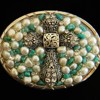 Turquoise and Pearl Rhinestone Cross Womens Belt Buckle