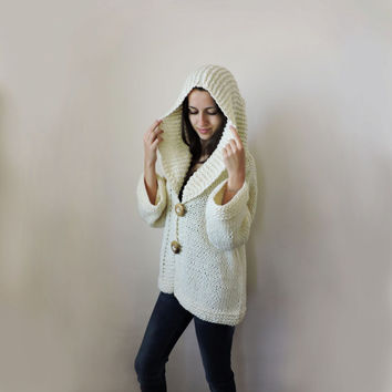FREE SHIPPING Knit merino cardigan Ivory sweater Hooded coat Wool knit overcoat Big wood buttons Long sleeve cardigan Warm cozy winter coat