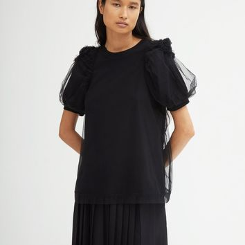 Ruched Flower Sleeve Tulle T-Shirt by Simone Rocha- La Garçonne