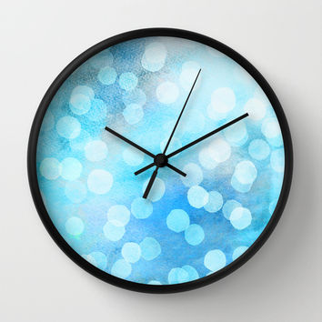 Turquoise Snowstorm - Abstract Watercolor Dots Wall Clock by Micklyn