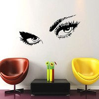 Wall Decal Eyes View Face Vinyl Sticker Decals Girl Woman Face Home Decor Bedroom Art Design Interior NS419