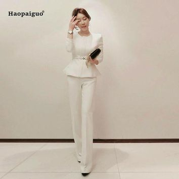 ONETOW Womens business suits white pants suit formal ol business suit long sleeve trouser suit