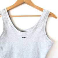 Wms Vintage 1990s NIKE Swoosh Gray Heather Ribbed Crop Top Tank Sz S