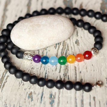 mens necklace chakra jewellery Buddha necklaces meditation yoga healing stones gift black beads rainbow necklace beaded 7 chakra necklace