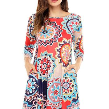 Bohemian Sunflower Print Red Dress