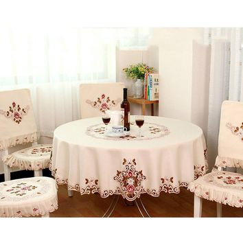 Beautiful European Pastoral Embroidered Luxury Crochet Flower Tablecloth Table Cover Kitchen Utensils Home Decor