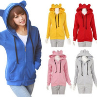 HOT Cute Animal Bear Ears Hooded Hoodies Zip Up Jacket Warm Coat Sweatshirt Tops = 1932229956