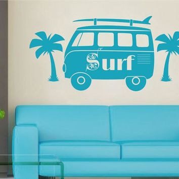 ik2558 Wall Decal Sticker bus surfing board palms living sports shop