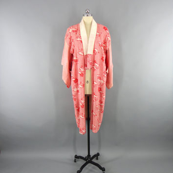 Vintage 1930s Kimono Robe / Dressing Gown Wedding 30s Lingerie / Downton Abbey Art Deco / Japanese Juban / Red Origami Cranes Birds Shibori