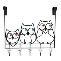 Boston Warehouse 5-Hook Owl Over-the-Door Accessory Organizer (Black)