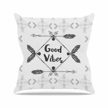 "Famenxt ""Boho Good Vibes"" Black Gray Outdoor Throw Pillow"