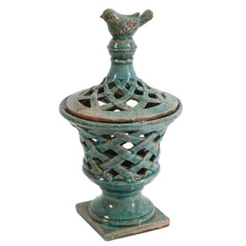 Antique Look Ceramic Lidded Jar, Blue By A and B Home