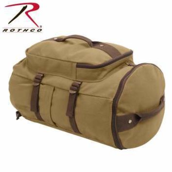 """Convertible 19"""" Canvas Duffle/Backpack - Coyote & Brown"""