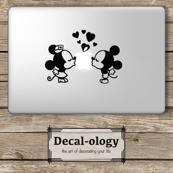 Mickey and Minnie Kissing Apple Disney - Apple Macbook Laptop Vinyl Sticker Decal