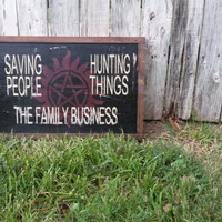 "Supernatural Quote ""Saving People, Hunting Things, The Family Business."" Wooden Sign in Black/Red/Creme 12 x 16"