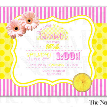 Yellow Polka Dot Pink Striped Lemon and Flower Design Printable Birthday Invitation