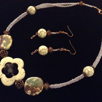 Sale  Magnesite Necklace and Earring Set