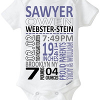 Birth Stat Onesuit Announcement Babyshower Gift New Infant Boy Present Subway Art Format - New Baby Photo Outfit Nursery Art Gay GLBT Parents