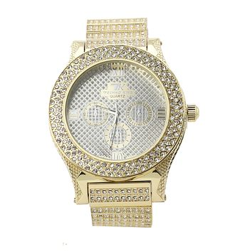 HIP HOP ICED OUT RAONHAZAE LUXURY GOLD FINISHED LAB DIAMOND WATCH X1