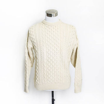 Vintage Wool Fisherman Sweater - Cable Knit Ivory Socttish Pullover Crewneck - Medium