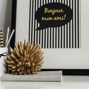 Quote art // french print, inspirational quote, striped print, gold print, black and gold print, quote poster