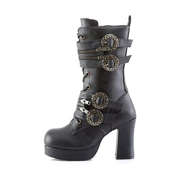 "Gothika 100 Steampunk 3.75"" Chunky Block Heels Ankle / Mid Calf Boots  6-12"