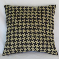 """Houndstooth Throw Pillow Cover, Black and Tan Large Scale Check / Plaid 17"""" Square  Ready Ship"""