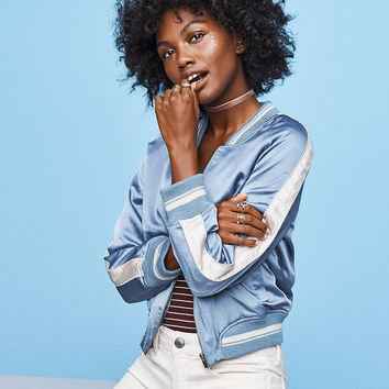 AEO Embroidered Bomber Jacket, Light Blue