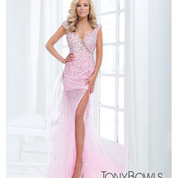 (PRE-ORDER) Tony Bowls 2014 Prom Dresses - Pink Sequin Embellished Cap Sleeve Sweetheart Gown