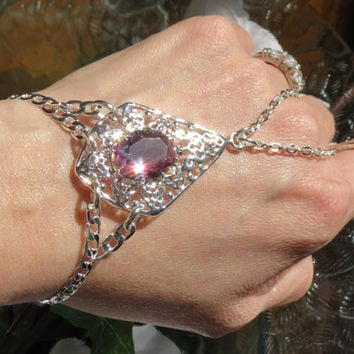 Sized OOAK Rainbow Topaz Slave Bracelet, Ring Bracelet, Hand Chain, Hand Jewelry, Silver, plated, Adjustable, Body Jewelry, Diamond shaped,