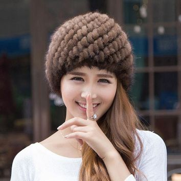 PEAPUNT 2016 Fashion Knitted Real Mink Fur Hats For Women Lady Winter Warm Russian Beanies Natural Thick Pineapple Fur Cap JQ6017