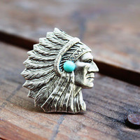 INDIAN CHEIF-concho coctail adustable ring matte silver/Native American/Bohemian/Gypsy/Navajo/free people/western/cowgirl