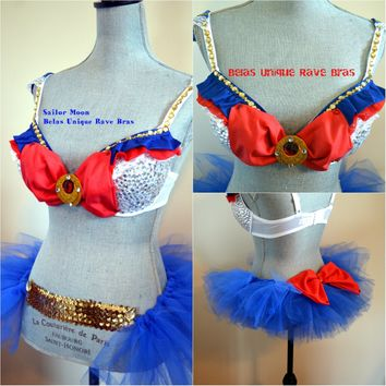 Sailor Moon Cosplay Rave Bra and TuTu Bustle Halloween Dance Costume