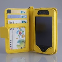 Navor Folio Wallet Case for iPhone 4 4S Pockets for Cards & Money, Clear Window Slot for License ID ( Yellow )