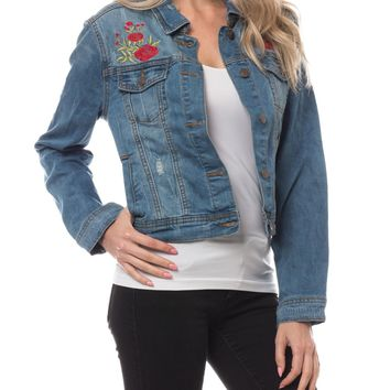 LE3NO Womens Ripped Cropped Denim Jean Jacket with Floral Embroidery