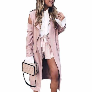 Cut Out Sleeves Long Belted Trench Coat Dress