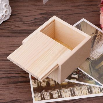 Small Plain Wooden Storage Box Case for Jewellery Small Gadgets Gift Ring Organizer Crafts Case