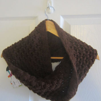 Eco Friendly Knit - Hand Knitted Cowl - Chocolate Brown Cowl - Reversible Cowl - Infinity Scarf - Soft Cowl - Winter Scarf - Tube Scarf