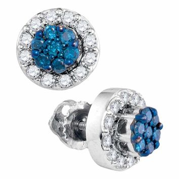 10kt White Gold Women's Round Blue Color Enhanced Diamond Flower Cluster Earrings 1-2 Cttw - FREE Shipping (USA/CAN)