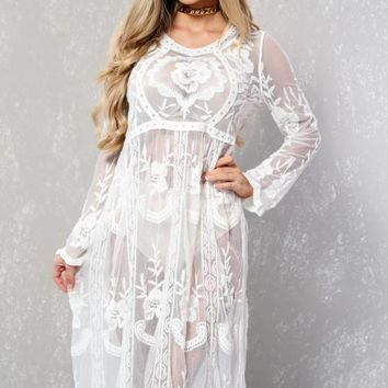 Sexy White Sheer Embroidered Crochet Long Sleeve Swimsuit Cover Up