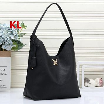 LV Louis Vuitton Fashion Leather Tote Solid Color Shopping Leisure Handbag Shoulder Bag Women Satchel Black