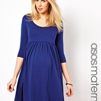 ASOS Maternity Skater Dress with Scoop Neck & 3/4 Sleeves at asos.com