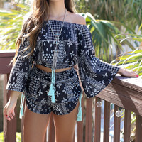 Viva La Vida Charcoal Mint Side Tassel Shorts