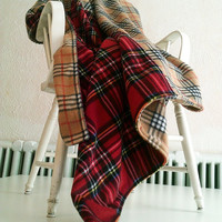Tartan Blanket Red Plaid and Camel Check Fleece Blanket