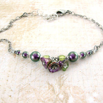 Victorian Peacock Garden - Iridescent Purple and Green Floral Bracelet - Swarovski Pearl Antique Silver Spring Victorian Flower Jewelry