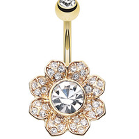Golden Colored Avens Flower Sparkle Belly Button Ring
