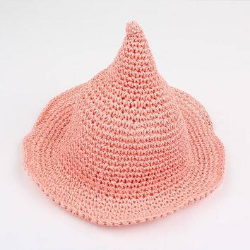 New Children Solid Straw cap knitting fisherman Halloween cap wizard magic girl hat fashion witch tall pointed hat accessories
