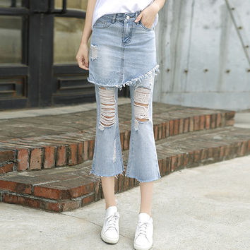 Fashion Irregular Ripped Worn Tassel High Waist Flared Jeans Trousers False Two-Piece Denim Skirt Pants