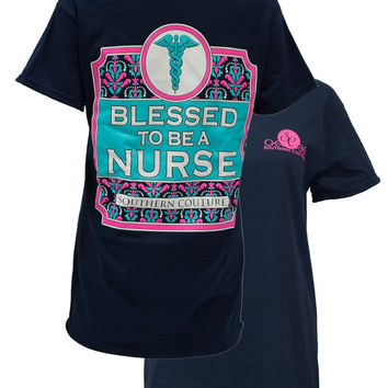 Southern Couture Preppy Blessed to be a Nurse Girlie Bright T Shirt